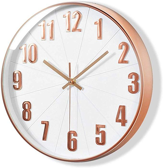 Lucor Rose Gold Wall Clock Silent Non Ticking 12 Inch Quality Quartz Battery Operated Clock For Living Room Home Offic Gold Wall Clock Wall Clock Gold Walls