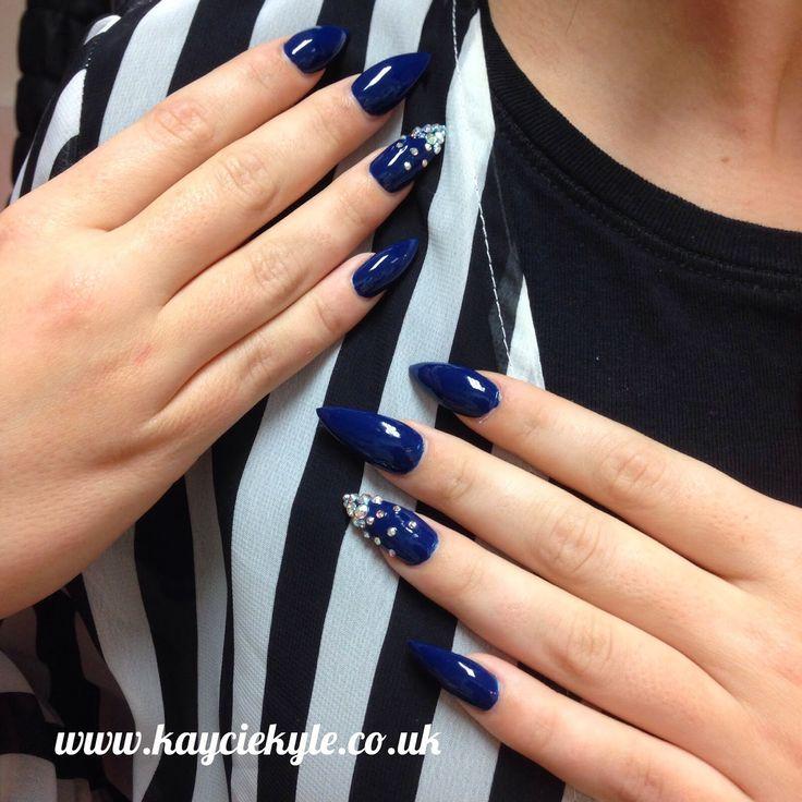 Navy Blue Stiletto nails!