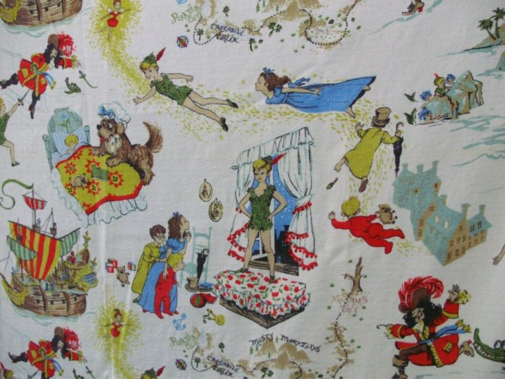 Vintage Peter Pan Fabric Tinkerbell 3 Curtains Neverland