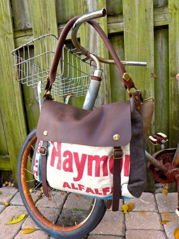 Haymor Alfalfa Seeds - Vintage Seed Sack Leather Satchel Bag - Americana Leather Canvas & Leather Bag... Selina Vaughans