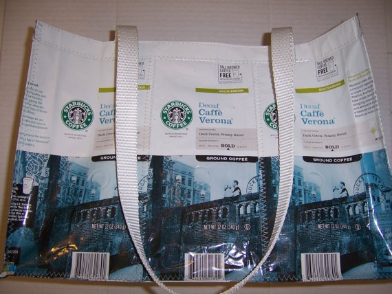 Recycled Starbucks bags: White Cafe, Starbucks Bags So, Bags So Cosmopolitan, Coffee Bags, Recycled Starbucks