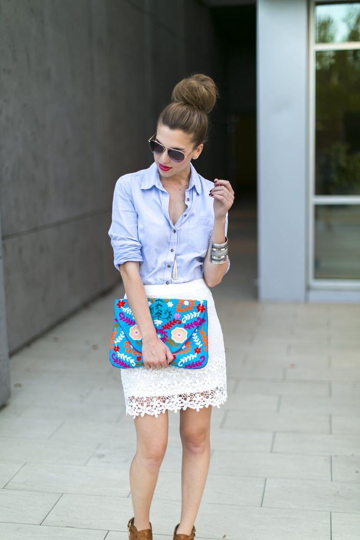 Daisy crochet mini skirt with a gorgeous printed clutch!