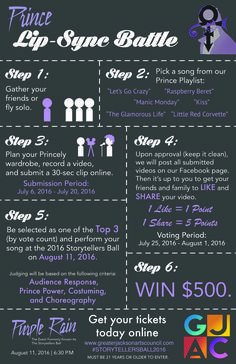 Prince Lip Sync Battle in #JacksonMS hosted by Great Jackson Arts Council! Gather your friends and your Princely wardrobe and record a short 30-second video of you lip-syncing a Prince song (song options available on infographic). If your video gains enough likes and shares to place in the Top 3, you will perform your number at the Storytellers Ball for a change to WIN $500.  Check out our Facebook page (Greater Jackson Arts Council) and Instagram (@greaterjacksonarts) for more information.