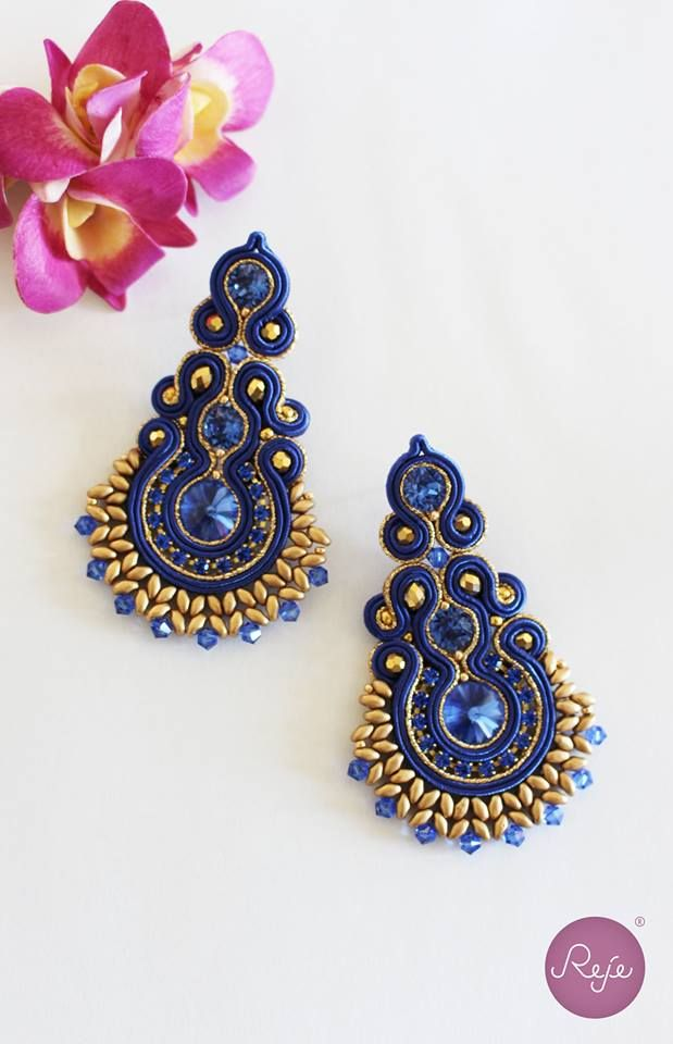 Soutache jewelry, soutache earrings, chandelier earrings, royal blue earrings…