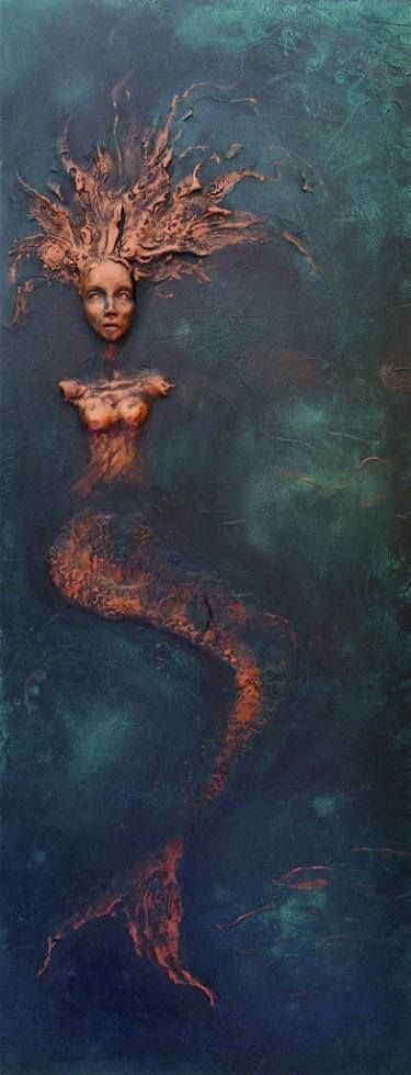 """Saatchi Art Artist Dr Franky Dolan; Painting, """"""""Mermaid"""" Wall Sculpture Relief clay relief and canvas painting 40 H x 16 W x 3in"""