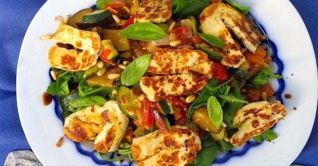 #Recipe Halloumi and Warm Vegetable #Salad - The GOODista