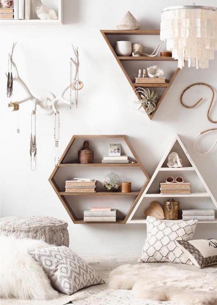 estantes de pared de diseño geométrico de madera como dormitorio de bricolaje deco