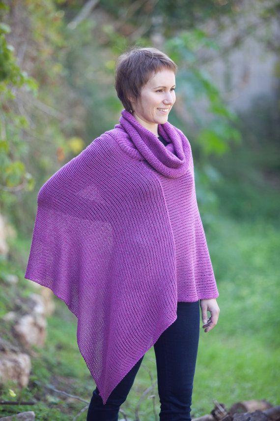 Asymmetric knitted wrap dress - Purple shawl knitwear - A195