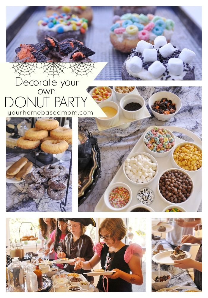 Decorate your own donut partyDonuts Parties, Kids Parties, Halloween Parties, Birthday Parties, Donuts Decor, Parties Ideas, Donuts Halloween, Kid Parties, Family Game Night