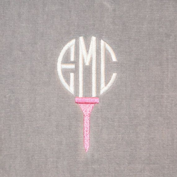 Think this would help my golf game? Love the grey and pink. Monogram Golf Towel Personalized golf towel by StitchingDesigns