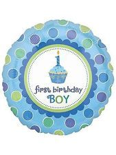 Cupcake 1st Birthday Boy Round Metallic Balloon (Each)