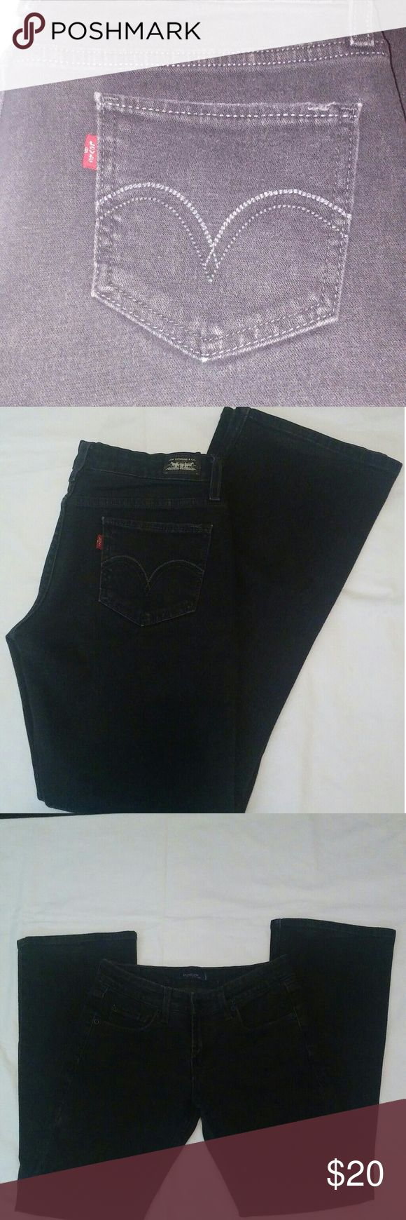 Black Levi's 518 Superlow Rise Jeans, Size 7 Boot cut, stretchy, not faded, only wore twice Levi's Jeans Boot Cut