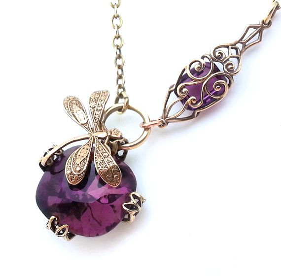 Purple dragonfly necklace, Art Nouveau asymmetrical necklace, antiqued brass filigree necklace, pendant necklace gift idea