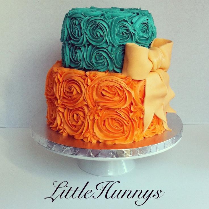 Teal and Orange rosette baby shower cake