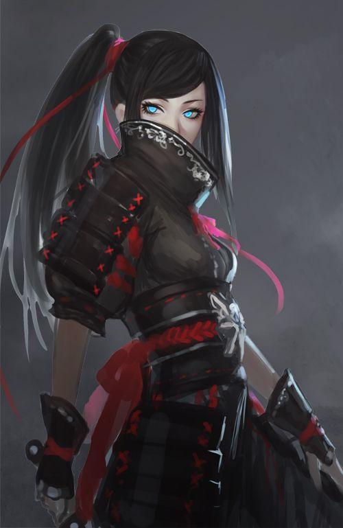El arte de la fantasía--Personaje ninja...parece la versión femenina de Vince Vallantine del Final Fantasy 7.
