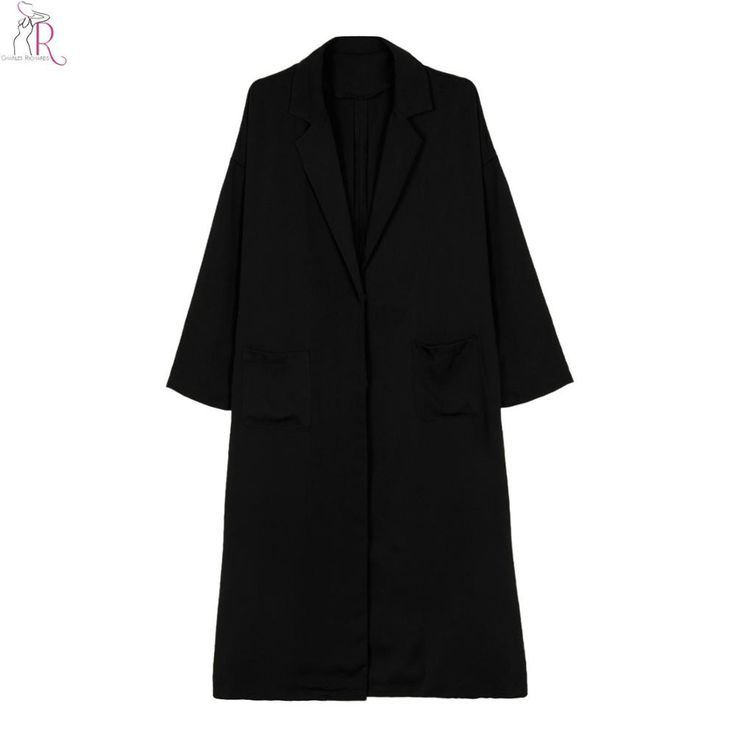 Black Single Breasted Long Trench Coat Outwear Loose Casual High Street Women Autumn Fall