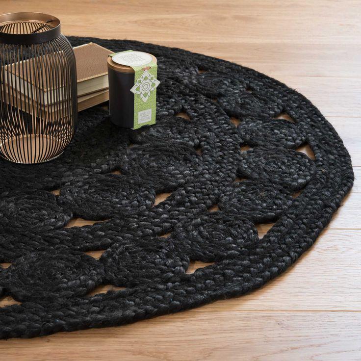 Tapis rond en jute noir D 90 cm ÉBÈNE | Maisons du Monde