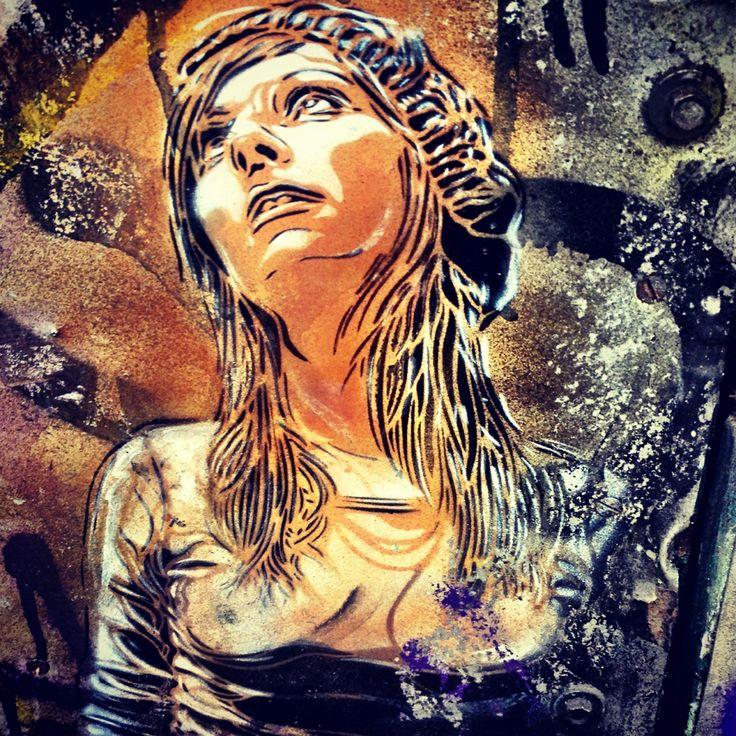Stencil of a girl by c2151 graffiti artist, Fashion Street