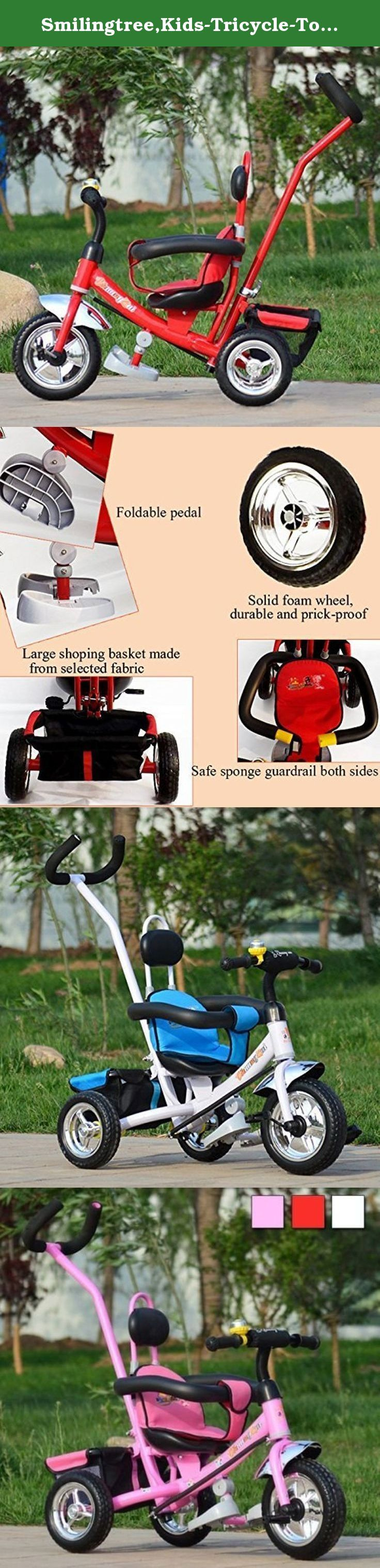 Smilingtree,Kids-Tricycle-Toddler-Bike-Stroller-Tricycle-Pram-Push-Ride-Pushchair,baby stroller (Red). Kids-Tricycle-Toddler-Bike-Stroller-Tricycle-Pram-Push-Ride-Pushchair,baby stroller Color:As picture shown Material:Steel frame Suitable age:1-6 years Size:length*width:82*56, height:100-110cm, seat to foot pedal height:22cm (Unit:CM) Size Conversion:1 inch=2.54cm or 1cm=0.393inch (Please allow 1-3 cm error due to manual measurement.) Max load bearing:50kg Features: 1.Easily folded foot...