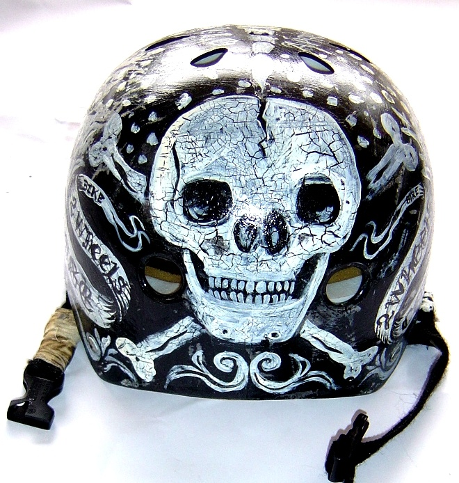 Hand Painted Skull Helmet - designed by Cycology