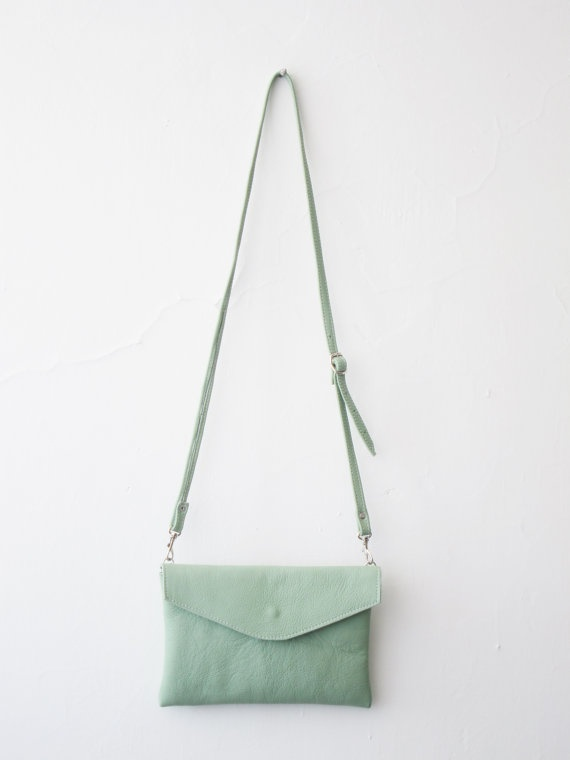 Sarah envelope leather bag by goldenponies on Etsy, $30.00