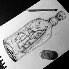 ship in a bottle drawing - Google Search