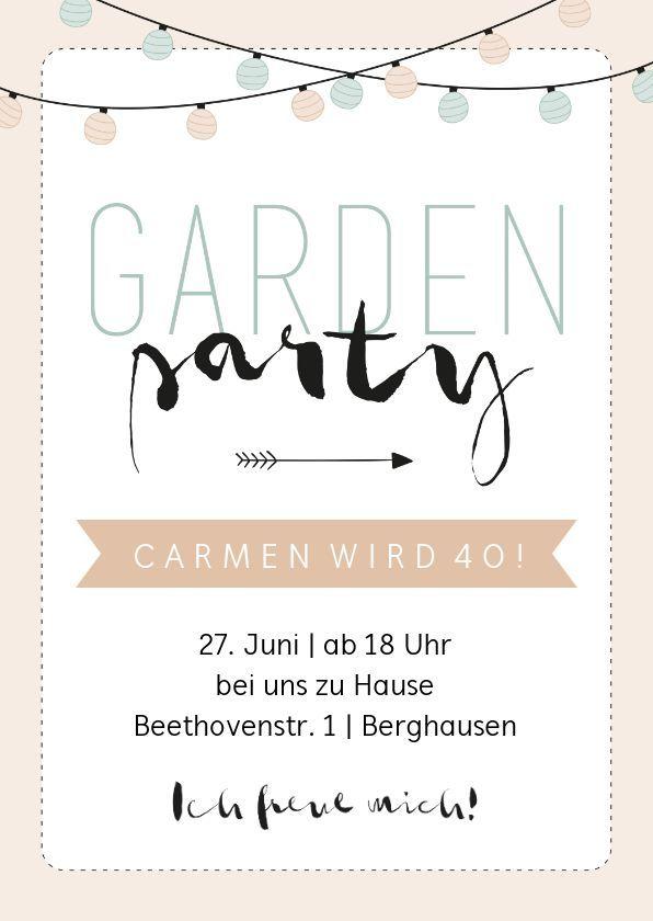 Gartenparty einladungstexte Einladung Geburtstag