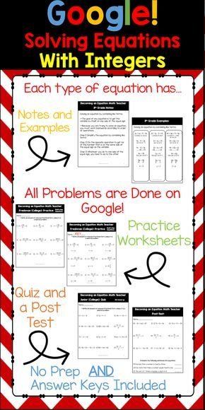 Your students will have fun as you use Google in your math curriculum. This products involves solving equations with integers, fractions and decimals.  It includes: One-step, two-step, distributive property, variables on both sides and more.  100+ slides and 300+ problems.