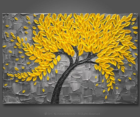 Grand 24 x 36 x1.5 peinture arbre de fleur jaune &