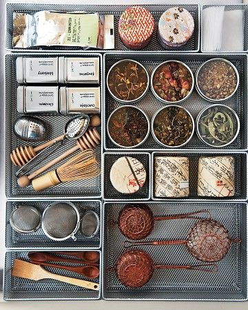 kitchen inspiration - drawer organization and storage. everything in it's place. metal drawer organizers for spices, cooking supplies and utensils.