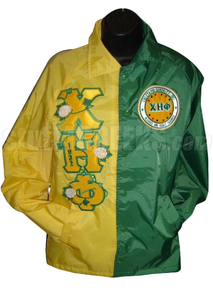 CHI ETA PHI TWO-TONE LOGO LINE JACKET WITH FLOWERS THRU GREEK LETTERS, YELLOW/GREEN Item Id: PRE-TTXJ-CHF-LOGO_EMBL_1932LTR_YLW/GRN Price: $229.00