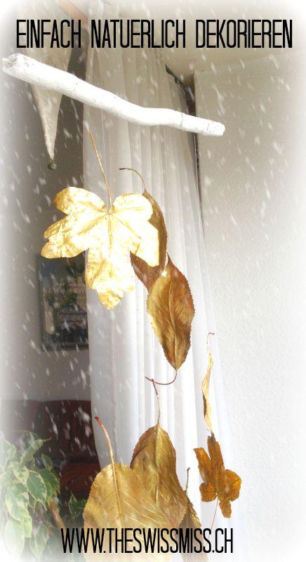 Einfache und natürlich Winterdeko mit Blättern.  www.theswissmiss.ch