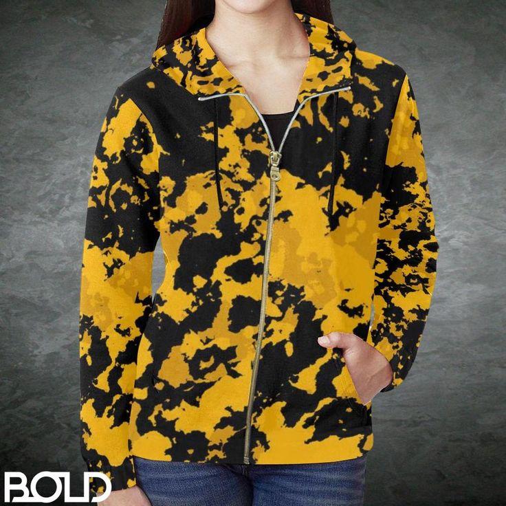 Stinger Yellow Camouflage Women's Zip-Up Hoodie