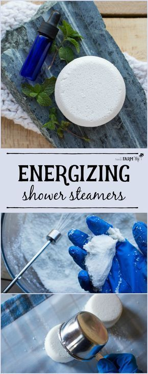Energize your mornings with these DIY aromatherapy shower steamers (also called shower bombs) that feature all natural ingredients and essential oils that help you wake up. #Aromatherapy