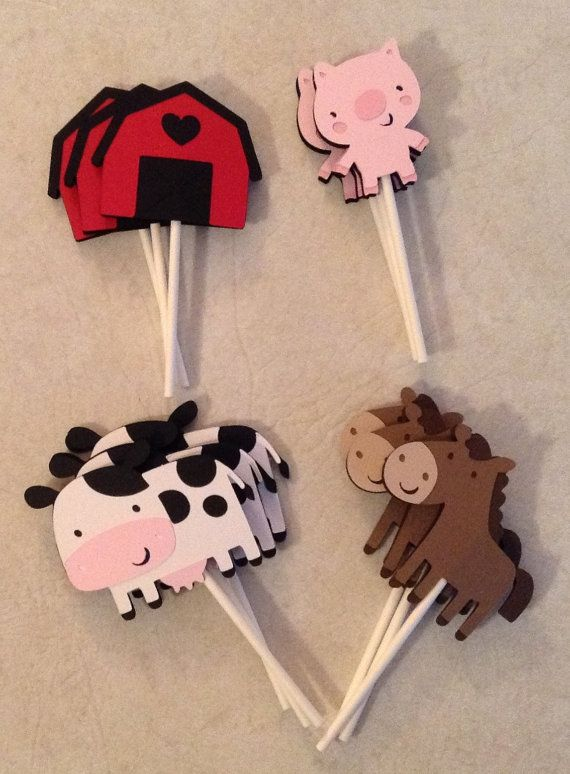 Farm Birthday Cupcake Toppers by Scrappin2gether on Etsy, $10.00