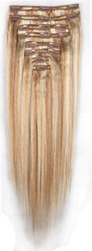 FIRSTLIKE 140g 18 Ash Brown Mix Bleach Blonde 100 Clip In Remy Human Hair Extensions Unprocessed Thick Enough Double Weft Full Head Natural Soft Straight 8 Pieces 18 Clips *** You can find more details by visiting the image link. #FeatherExtensions