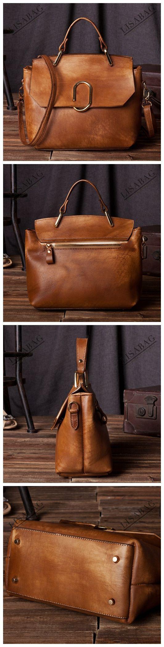 Handcrafted Women's Fashion Leather Handbag Messenger Bag Small Satchel in Vintage Brown C205--LISABAG #Fashion