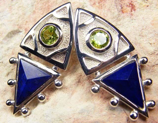 PERIDOT N LAPIS GEMSTONE STYLISH  SILVER EARRINGS    GRR 169   multifire  gemstone earrings , gemstone silver earrings