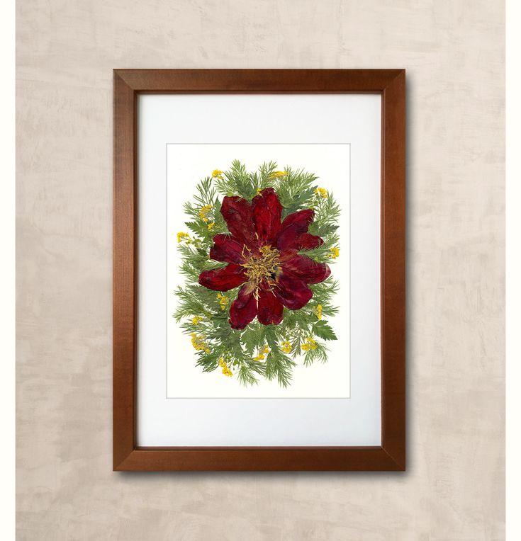 Burgundy tulip pressed flower art pressed botanicals dried