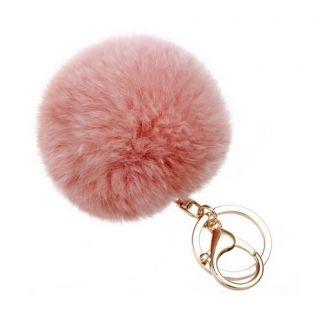 Rosa pompom kulcstartó és táskadísz