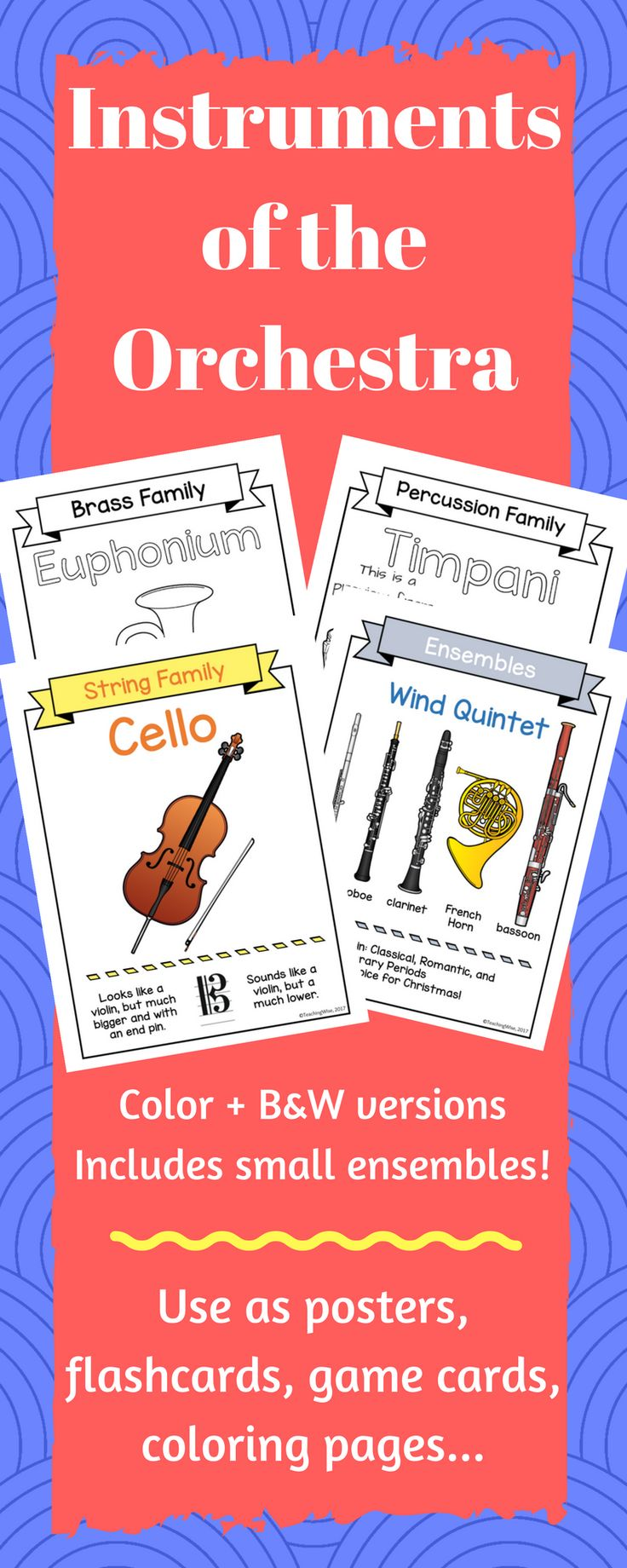 Concert Band & Orchestra Instrument & Families Poster Set Each poster features one instrument with instrument family label, the clef that each instrument plays in, and a fact (about how it produces sound, how big it is, or what it sounds like).