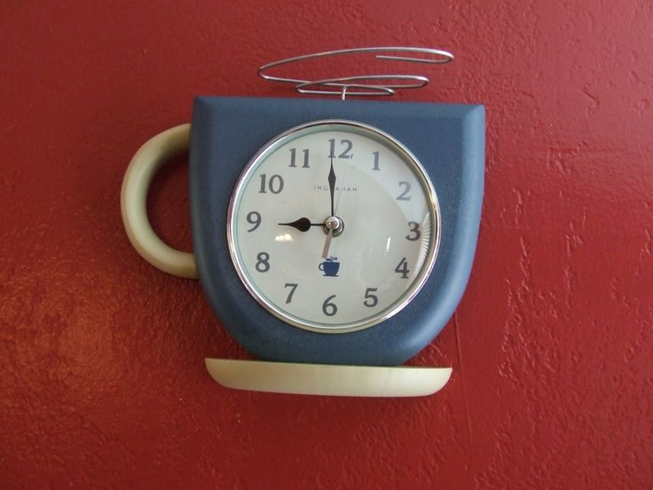 Coffee Cup Clock, Vintage Coffee Cup Wall Clock, Retro Coffee Clock, INGRAHAM Clock, Cottage Chic Wall Clock, Blue and White Vintage Decor by BeautyMeetsTheEye on Etsy