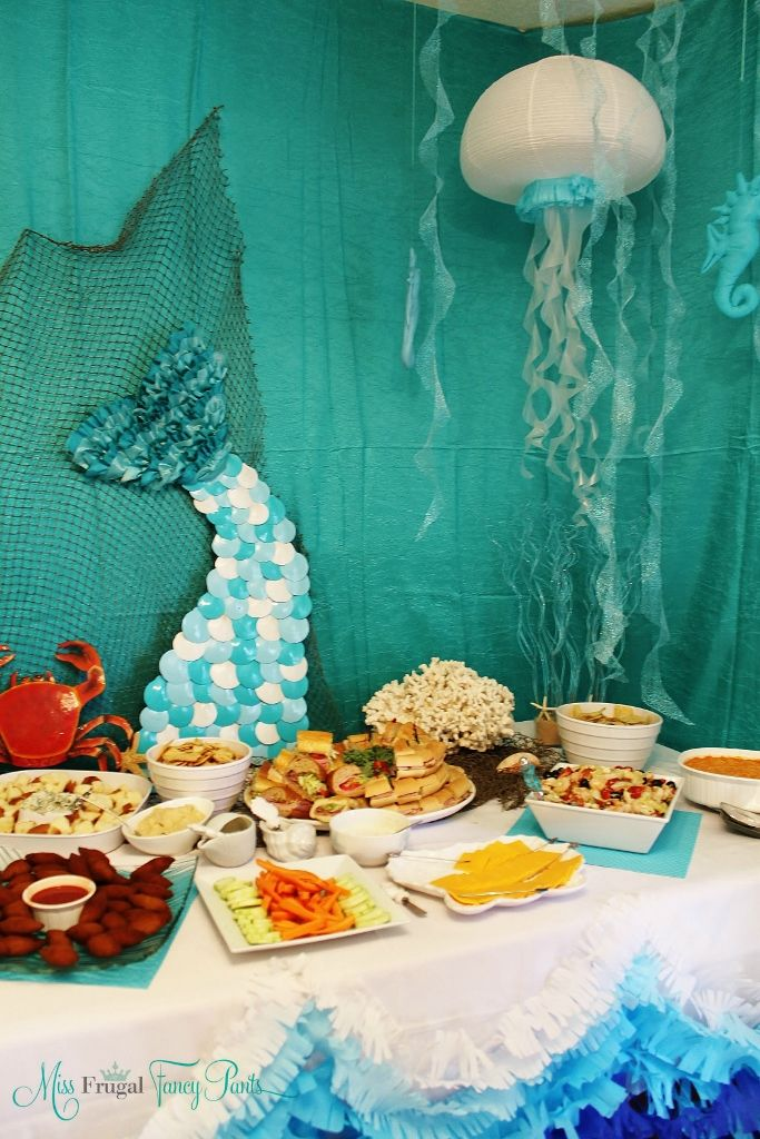 Little Mermaid Under the Sea 1st Birthday Party Decor with DIY Jellyfish & Mermaid Tail   missfrugalfancypants.com