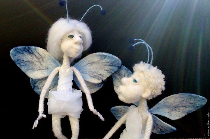 Купить Мотыльки))) - белый, сувениры и подарки, мотыльки, бабочка, вязаная игрушка, валяная игрушка