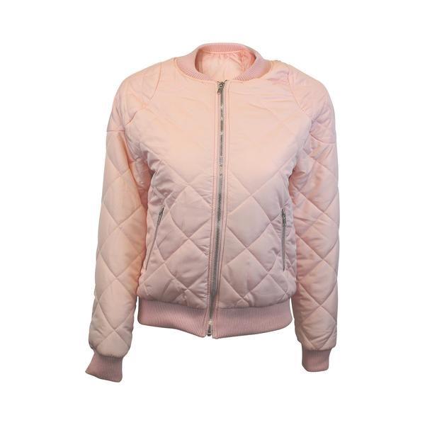 Pink Quilted Crop Bomber Jacket (Female) // Zargara