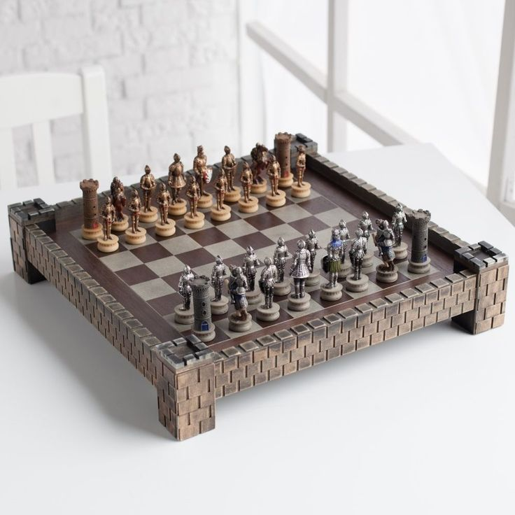 Medieval Times Knights Carved Wood Box Pieces Fortress Game Board Chess Set #WorldWise