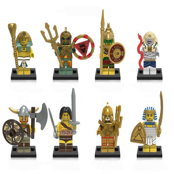 8pcs/lot Super Heroes Aztec Viking Egyptian Warrior Pharaoh Atlantis Mummy Barbarian Model Building Block Children Gift Toy 0161
