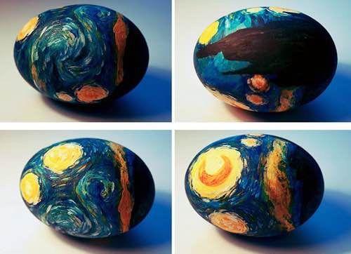 des oeufs de Paques peints comme une toile de Van Gogh