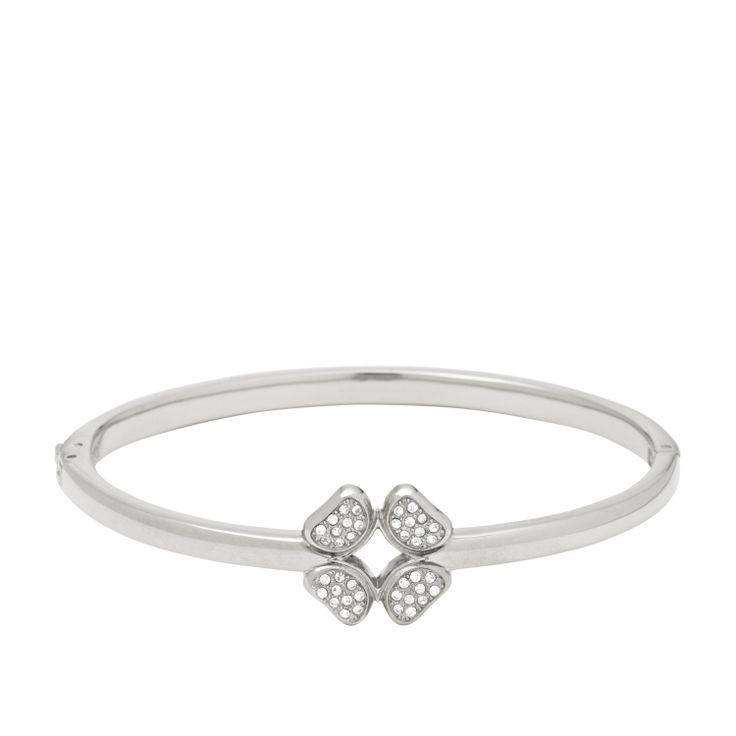 Bracciale rigido in acciaio con quadrifoglio di cristalli #FOSSIL Jewels - #ororagioiellerie