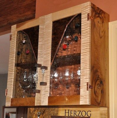 Curly Maple Cabinet Doors | The Doors Are Made Of Curly Maple And Walnut  Burl. Glass Kitchen ...